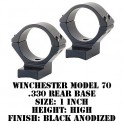 Talley Lightweight Ring/Base Winchester Model 70 1 Inch High Black 950701-WM70