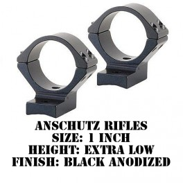 Talley Lightweight Ring/Base Anschutz 1 Inch Extra Low Black 920754