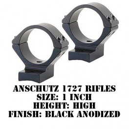 Talley Lightweight Ring/Base Anschutz 1727 1 Inch High Black 950761