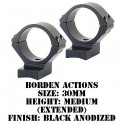 Talley Lightweight Ring/Base Borden Actions 30mm Medium Extended Black B74X719