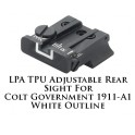 LPA TPU Adjustable Rear Sight for Colt Government 1911-A1 White Outline TPU45CT-18