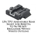 LPA TPU Adjustable Rear Sight for Beretta White Outline TPU92BE-18