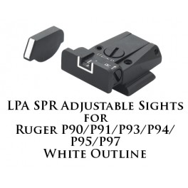 LPA SPR Adjustable Sights for Ruger P90-P97 White Outline SPR91RU-18