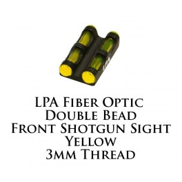 LPA Fiber Optic Double Bead Shotgun Sight Yellow 3mm MF30V