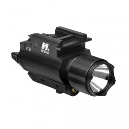 NcSTAR 200 Lumen Flashlight with Green Laser and Weaver Mount AQPFLSG
